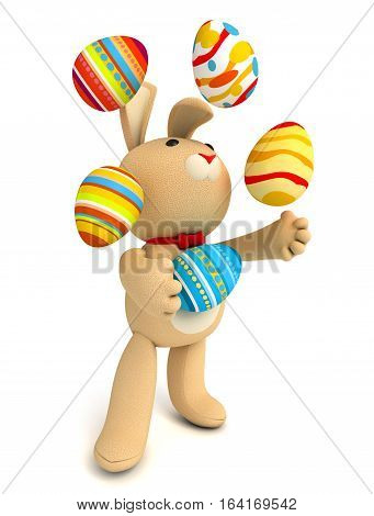 Happy Easter. Funny teddy rabbit juggling easter eggs. Isolated on white background. 3D illustration.