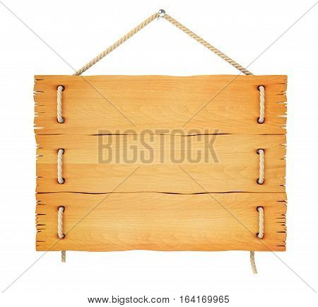 Close up of an empty wooden sign hanging on a rope. Isolated on white background. 3D illustration. 3D rendering