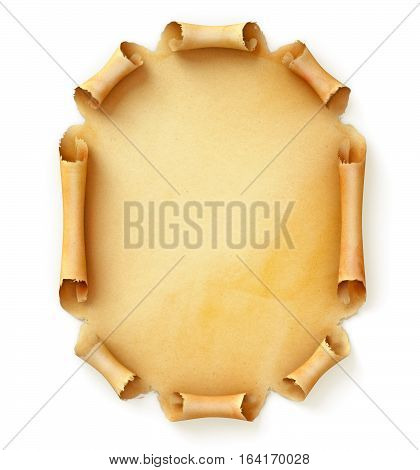 Old paper scroll. Conceptual illustration. Torn piece of paper ready for your message. Top view. Isolated on white background. 3D illustration. 3D rendering