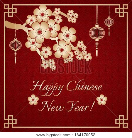 Greeting postcard to Chinese New Year. Branch of sakura with golden flowers and golden sky lanterns on deep red background with chinese ornament. Vector illustration