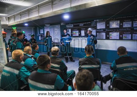 Tobolsk, Russia - July 15. 2016: Sibur company. Central control panel of Tobolsk Polymer plant. Training of engineers in control room