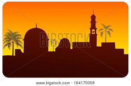 Silhouette of middle eastern buildings, possibly Jerusalem
