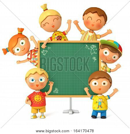 Group of funny school stands at the school board. Blackboard ready for your message. Back to School. Isolated on white background. 3D illustration.