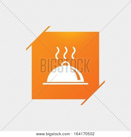 Food platter serving sign icon. Table setting in restaurant symbol. Hot warm meal. Orange square label on pattern. Vector