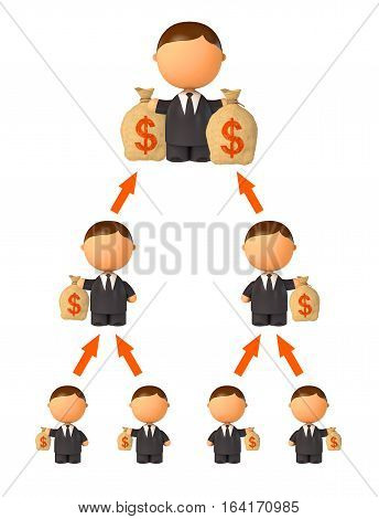 Financial pyramid. Schematic representation. Isolated on white background. 3D illustration. 3D rendering