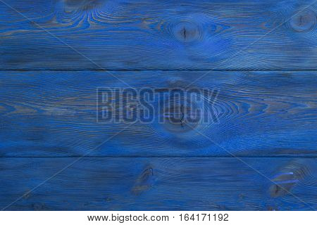 Blue background, wooden blue horizontal boards background, close up