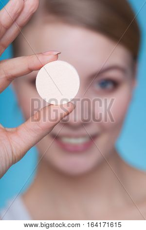 Woman Hand Holding Big Effervescent Pill