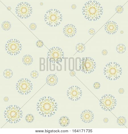Lace ethnic ornament in gentle tones on yellow. Seamless lacy pattern is perfect backdrop for your design, web page, wallpaper,  packaging paper, pattern fills, surface textures. Square. Vector.