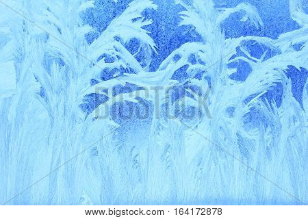 Frost patterns on a window pane in winter