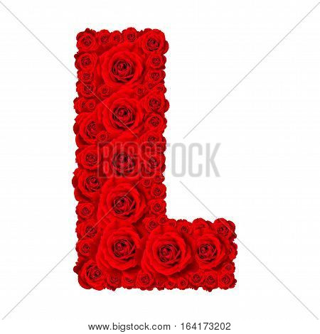 Rose alphabet set - Alphabet capital letter L made from red rose blossoms isolated on white background