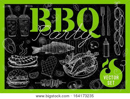 Set BBQ party Barbecue elements food, lemon, sausages, fish seafood, drinks, knife, onion wings, tomatoes, vegetables, fire Hand drawn vector illustration