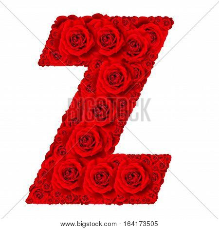 Rose alphabet set - Alphabet capital letter Z made from red rose blossoms isolated on white background