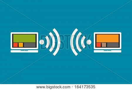 Wireless communication between devices. Device connection concept.