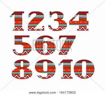 Figures, folk decor, vector, red. Colored, vector figures with serifs. Blue stripes on a red background. National ornament.