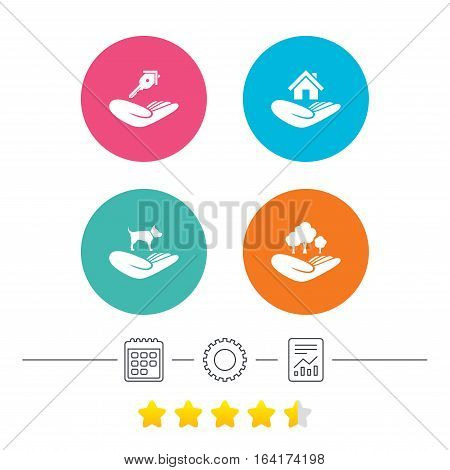 Helping hands icons. Shelter for dogs symbol. Home house or real estate and key signs. Save nature forest. Calendar, cogwheel and report linear icons. Star vote ranking. Vector