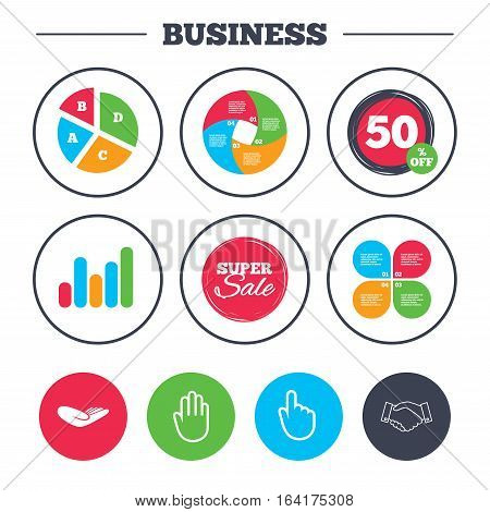 Business pie chart. Growth graph. Hand icons. Handshake successful business symbol. Click here press sign. Human helping donation hand. Super sale and discount buttons. Vector