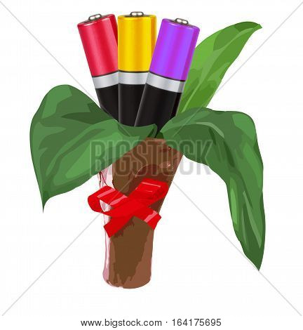 Environmental-friendly energy sources. Bouquet with green leaves or three AAA batteries in the form of flowers, isolated, white background