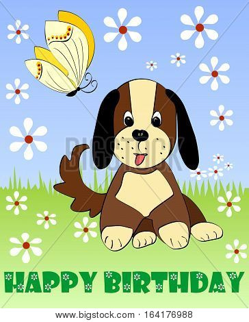 Happy Birthday Card, Children Party Billboard, Birthday Party Invitation With Cute Puppy And Yellow