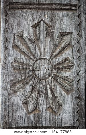 Close up shot of some wooden decoration in Maramures Romania.