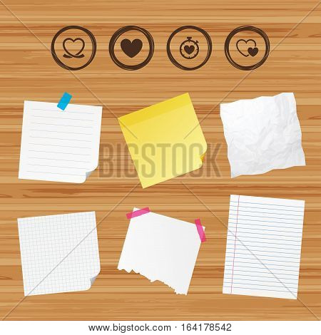 Business paper banners with notes. Heart ribbon icon. Timer stopwatch symbol. Love and Heartbeat palpitation signs. Sticky colorful tape. Vector