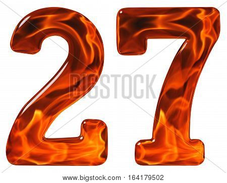 27, Twenty Seven, Numeral, Imitation Glass And A Blazing Fire, Isolated On White Background