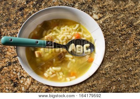 alphabet soup with the letters a b c on a spoon