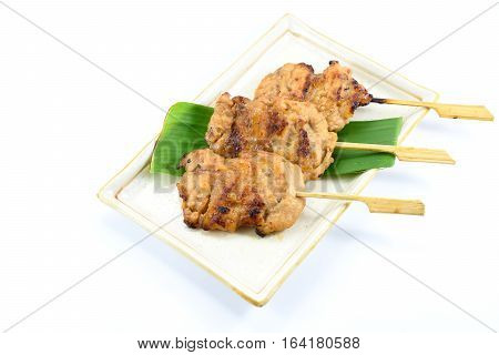 Thai styled pork barbeque (Grilled pork) isolated on white background Thai local food