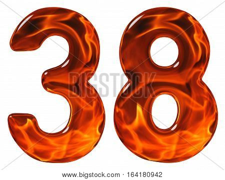 38, Thirty Eight, Numeral, Imitation Glass And A Blazing Fire, Isolated On White Background
