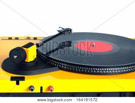 Turntable in yellow case with rotation vinyl record with red label isolated on white background. Horizontal photo rear view closeup