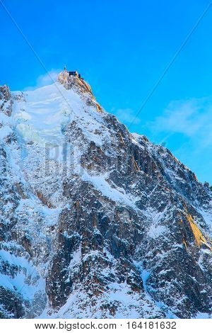 The mountain top station of Aiguille du Midi with sunset sut in Chamonix, France