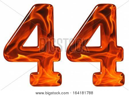 44, Forty Four, Numeral, Imitation Glass And A Blazing Fire, Isolated On White Background