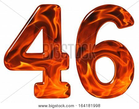 46, Forty Six, Numeral, Imitation Glass And A Blazing Fire, Isolated On White Background