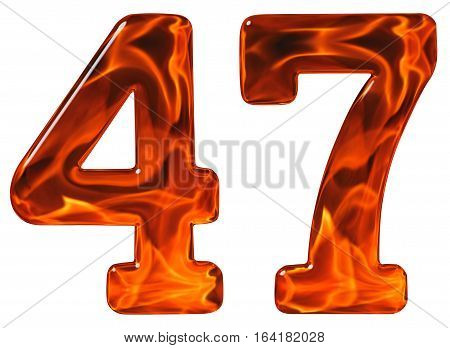47, Forty Seven, Numeral, Imitation Glass And A Blazing Fire, Isolated On White Background