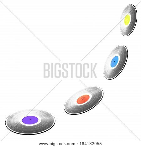 Four flying black long-play 33RPM vinyl records with colorful labels isolated on white background