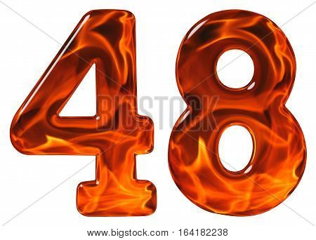 48, Forty Eight, Numeral, Imitation Glass And A Blazing Fire, Isolated On White Background