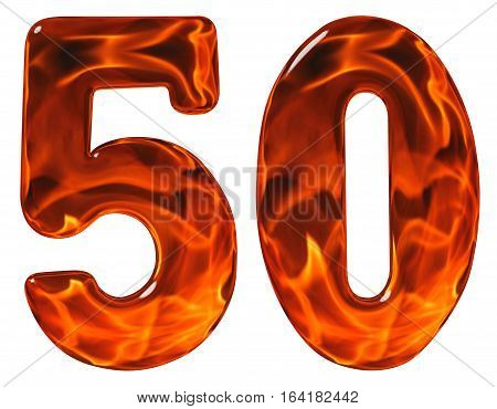 50, Fifty, Numeral, Imitation Glass And A Blazing Fire, Isolated On White Background