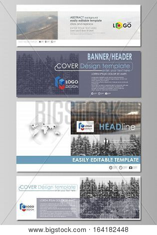 Social media and email headers set, modern banners. Business templates. Easy editable abstract design template, vector layouts in popular sizes. Abstract landscape of nature. Dark color pattern in vintage style, mosaic texture.