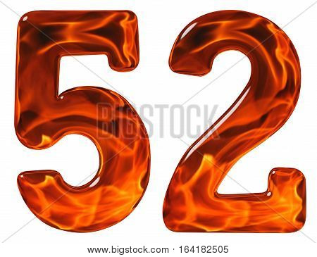 52, Fifty Two, Numeral, Imitation Glass And A Blazing Fire, Isolated On White Background
