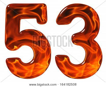 53, Fifty Three, Numeral, Imitation Glass And A Blazing Fire, Isolated On White Background