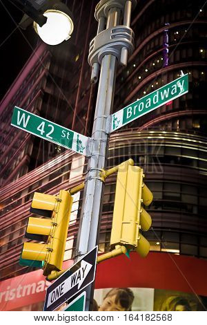 Street sign for 42nd St. and Broadway in Times Square