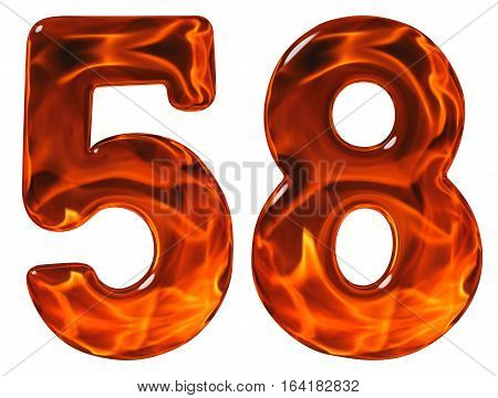 58, Fifty Eight, Numeral, Imitation Glass And A Blazing Fire, Isolated On White Background