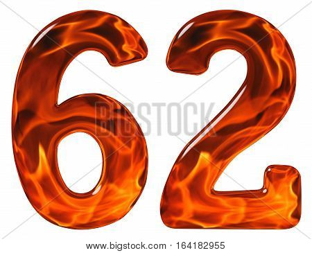 62, Sixty Two, Numeral, Imitation Glass And A Blazing Fire, Isolated On White Background