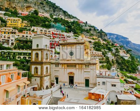 Positano at Italy along the stunning Amalfi Coast.
