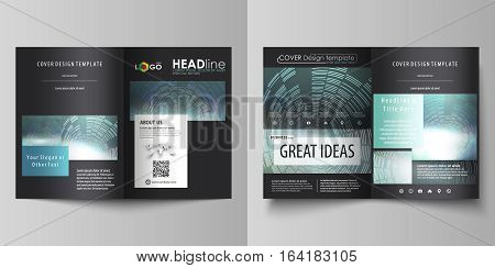 Business templates for bi fold brochure, magazine, flyer, booklet or annual report. Cover design template, easy editable vector, abstract flat layout in A4 size. Technology background in geometric style made from circles.