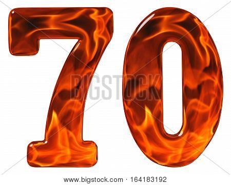 70, Seventy, Numeral, Imitation Glass And A Blazing Fire, Isolated On White Background