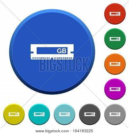 RAM module round color beveled buttons with smooth surfaces and flat white icons