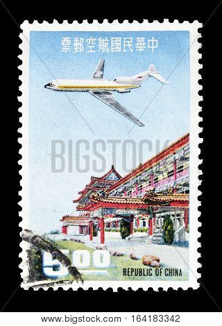 CHINA - CIRCA 1967 : Cancelled postage stamp printed by China, that shows Airplane over Chi Lin Pavilion.
