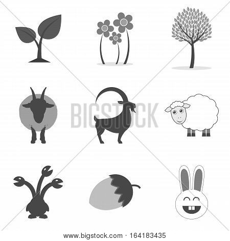 Set Of Nature Icons And Symbols In Trendy Flat Style Isolated On White Background.