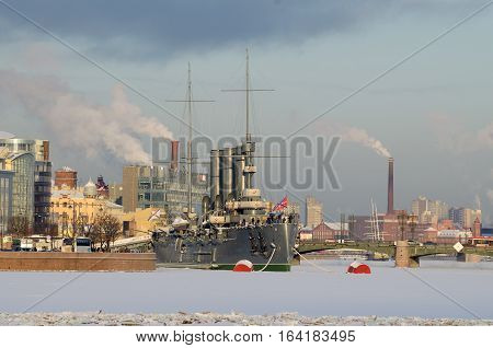06.01.2017.Russia.Saint-Petersburg.Winter landscape of the city.The waterfront is the famous cruiser the Aurora