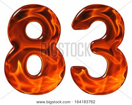 83, Eighty Three, Numeral, Imitation Glass And A Blazing Fire, Isolated On White Background